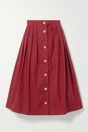 The Giovanna Pleated Cotton Midi Skirt - Red