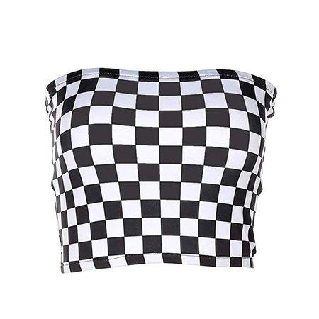 malianna Women Black And White Plaid Sexy Strapless Tube Top at Amazon Women's Clothing store: