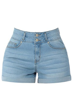 LE3NO Womens Casual 2 Button High Rise Rolled Cuff Push Up Denim Jean Shorts | LE3NO blue