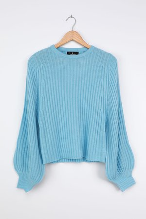 Blue Balloon Sleeve Sweater - Ribbed Knit Sweater - Sweater Top