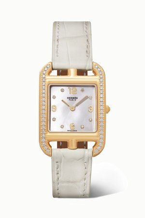 Hermès Timepieces | Cape Cod 23mm small 18-karat gold, alligator, mother-of-pearl and diamond watch | NET-A-PORTER.COM