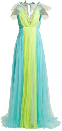 Contrast Panel Silk Blend Tulle Gown - Womens - Yellow Multi