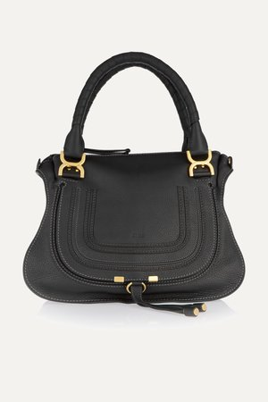 Black Marcie medium textured-leather shoulder bag | Chloé |