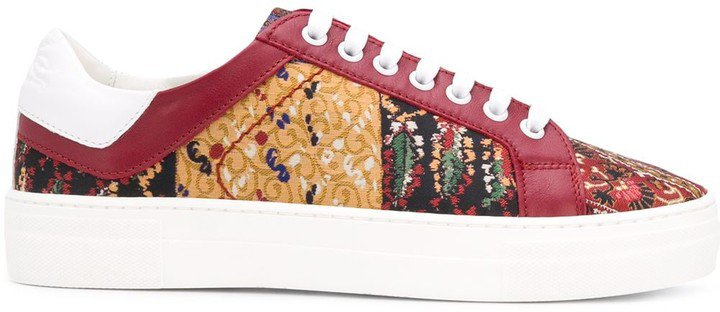 Paisley-Print Lace-Up Sneakers