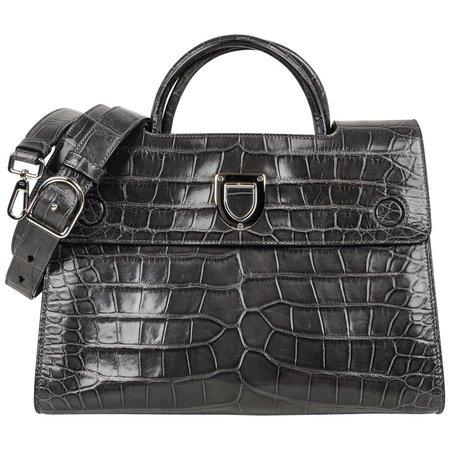 Christian Dior Bag Diorever Matte Gray Crocodile Tote Shoulder Strap For Sale at 1stdibs