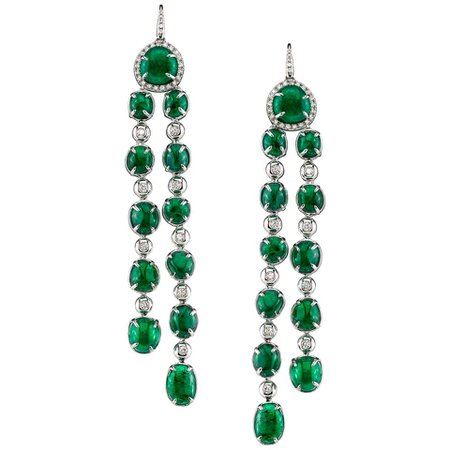 Long drop Muzo Emerald Colombia Earrings in 18K White Gold For Sale at 1stdibs