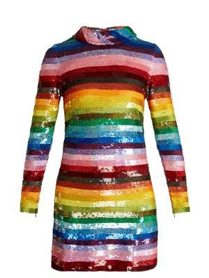Rainbow-Striped Sequin-Embellished Silk Mini Dress