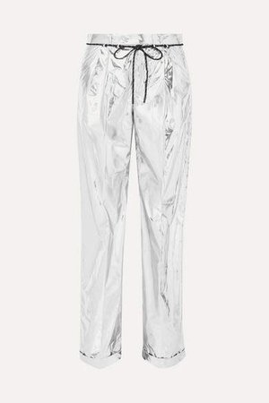 Metallic Coated Shell Wide-leg Pants - Silver