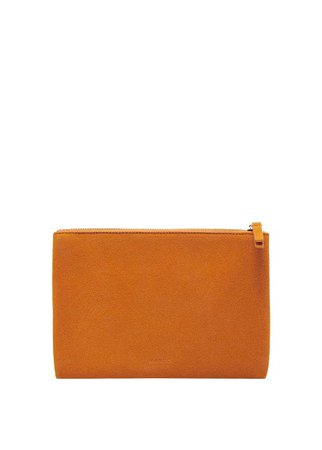 MANGO Zipped leather cosmetic bag