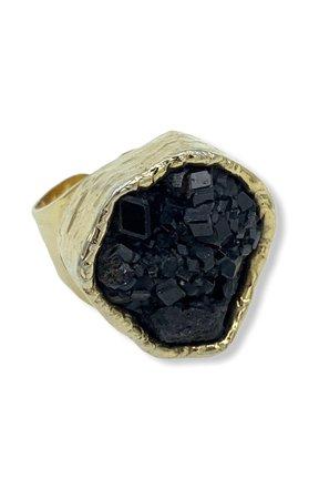 Black Garnet Cuff Ring