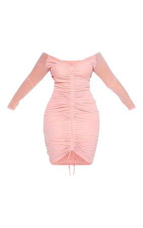 Plus Dusty Rose Mesh Ruched Bardot Midi Dress | PrettyLittleThing USA