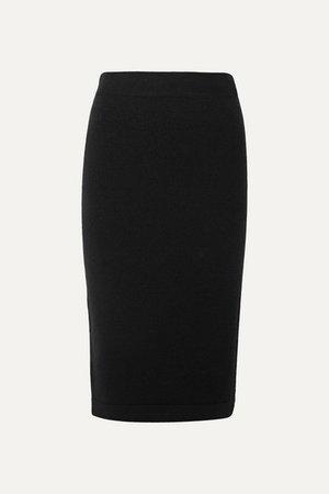 Ribbed Cashmere-blend Pencil Skirt - Black