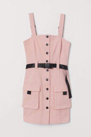 Denim Overall Dress - Pink
