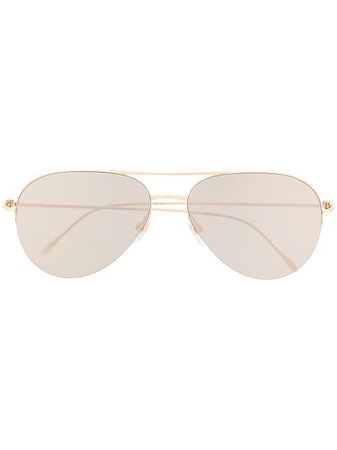 Shop gold Cartier Eyewear aviator-frame sunglasses with Express Delivery - Farfetch