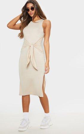 Beige Sleeveless Tie Waist Midi Dress | PrettyLittleThing