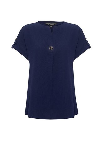 Navy Short Sleeve V-Neck Top | Dorothy Perkins