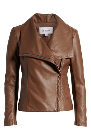BB Dakota Up to Speed Faux Leather Moto Jacket brown