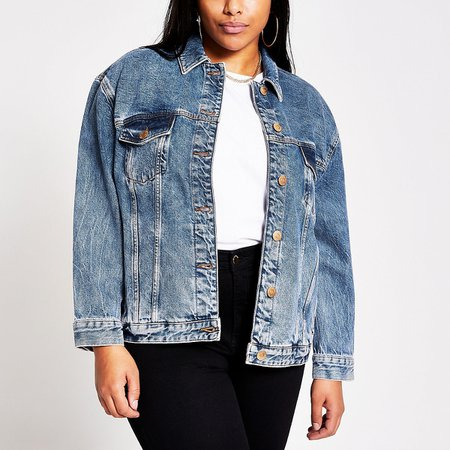 Plus blue oversized denim jacket | River Island