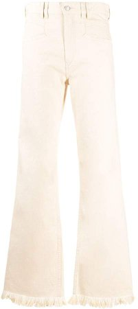 frayed-hem flared jeans