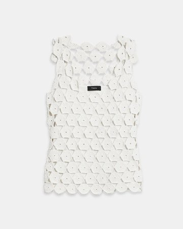Cotton Blend Crochet Tank | Theory