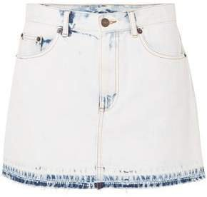 Frayed Bleached Denim Mini Skirt