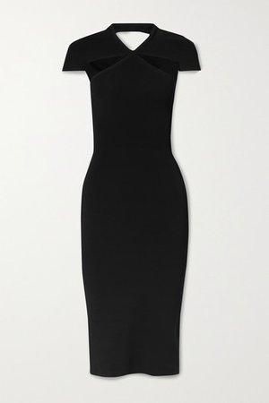 Piera Cutout Stretch-knit Midi Dress - Black