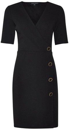 **Black Button Detail Bodycon Dress