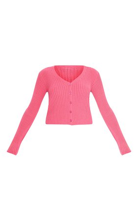 Hot Pink Button Front Cardigan   PrettyLittleThing USA