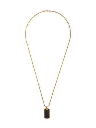 Gold & black Nialaya Jewelry forged carbon dog tag necklace - Farfetch