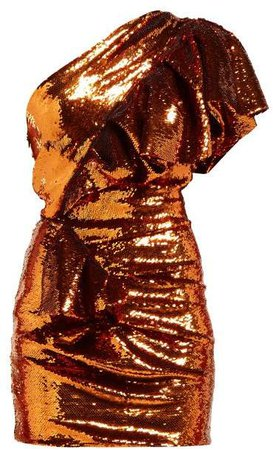 Asymmetric Sequinned Mini Dress - Womens - Orange