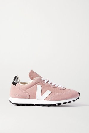 Net Sustain Rio Branco Leather-trimmed Suede And Mesh Sneakers - Blush