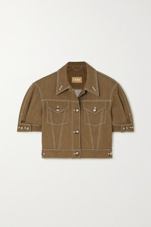 Chloé | Cropped topstitched denim jacket | NET-A-PORTER.COM