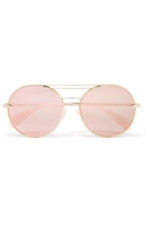 rag & bone | Vittoria round-frame gold-tone mirrored sunglasses | NET-A-PORTER.COM