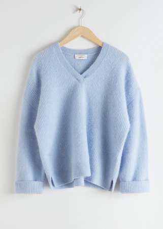Oversized V-Neck Ribbed Sweater - Blue - Sweaters - & Other Stories