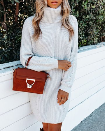 Frozen Heart Turtleneck Sweater Dress - Light Grey – VICI