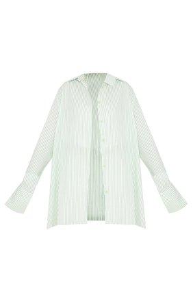 Green Stripe Oversized Cuff Shirt | PrettyLittleThing USA