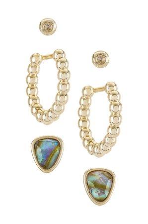 Kendra Scott Ivy Hug Stud Earring Set in Gold Iridescent Abalone   REVOLVE
