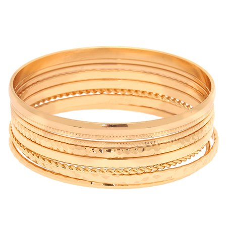 Gold Textured Bangle Bracelets - 8 Pack | Claire's US