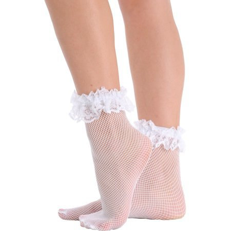 SummitFashions - Womens Fishnet Ankle Socks Ruffle Lace Trim Crew Anklet Black White or Red - Walmart.com