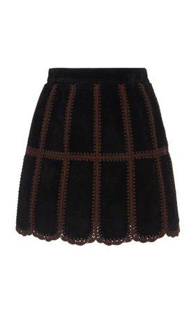Patchwork Suede Mini Skirt By Miu Miu   Moda Operandi