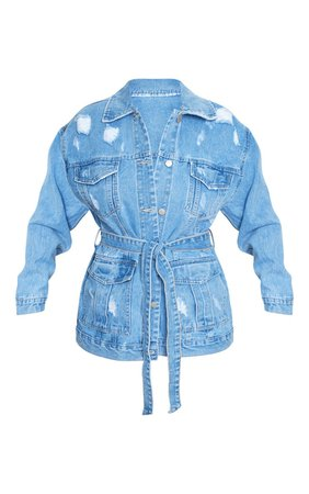 Mid Blue Wash Distress Pocket Tie Denim Jacket   PrettyLittleThing