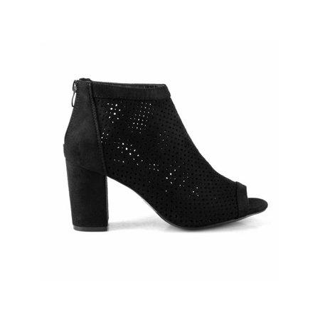 Perforated Women's Open Toe Chunky Heel Booties in Black - Walmart.com