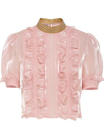 Miu Miu crystal embellished ruffled top pink MT16511D9E - Farfetch