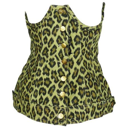 Jean Paul Gaultier Vintage Cheetah Print Boned Underbust Corset