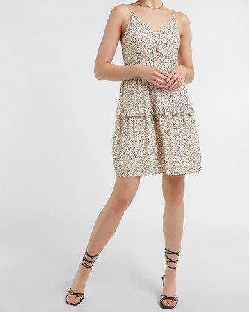 Printed Tiered Ruffle Trapeze Dress