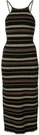 Striped Cut-Out Midi Dress