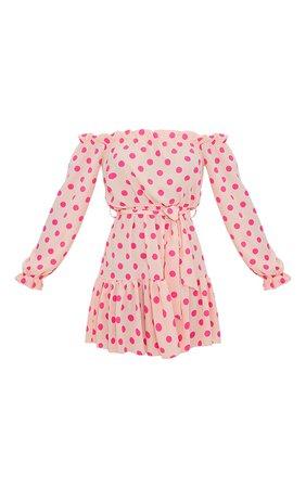 Dusty Pink Polka Dot Bardot Tie Waist Shift Dress | PrettyLittleThing