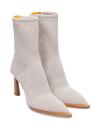 Fendi FFrame Jacquard pointed-toe Ankle Boots - Farfetch