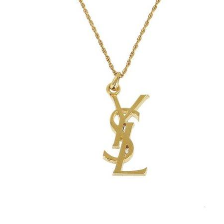 Vintage Yves Saint Laurent YSL Logo Pendant Necklace