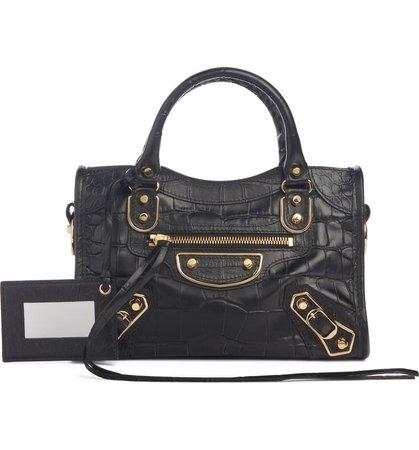 Balenciaga Metallic Edge Mini City Croc Embossed Leather Bag | Nordstrom